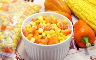 Zmrazená zelenina na zimu pro obloha s kukuřicí